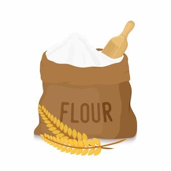 Borsa di tela con farina bianca, scoop, orecchie
