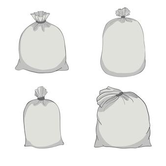 Sacco di tela. borsa di tela. set di illustrazione