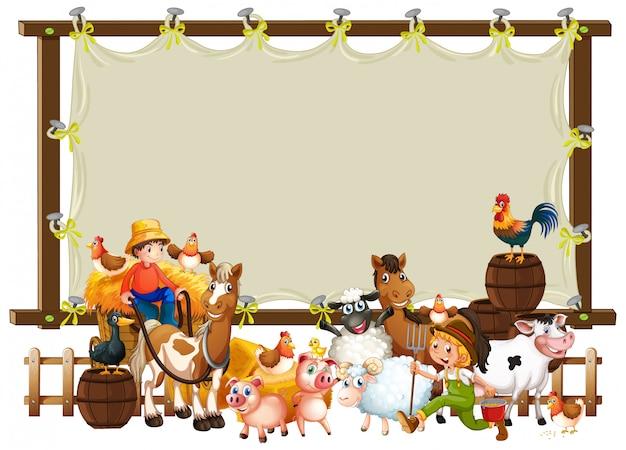 Modello di cornice in legno con set di fattoria degli animali