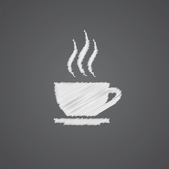 Tappo di tè schizzo logo doodle icona isolato su sfondo scuro