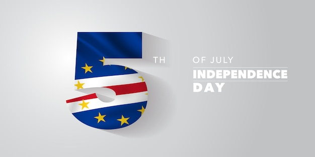 Capo verde felice giorno dell'indipendenza biglietto di auguri, banner, illustrazione vettoriale. festa nazionale di capo verde 5 luglio sfondo con elementi di bandiera