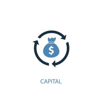 Capitale concetto 2 icona colorata. illustrazione semplice dell'elemento blu. disegno di simbolo del concetto di capitale. può essere utilizzato per ui/ux mobile e web