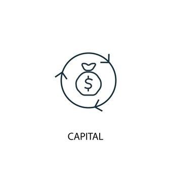 Icona della linea di concetto di capitale. illustrazione semplice dell'elemento. disegno di simbolo di struttura del concetto di capitale. può essere utilizzato per ui/ux mobile e web