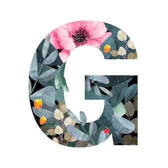 Lettera maiuscola g stile floreale. con fiori e foglie di piante.