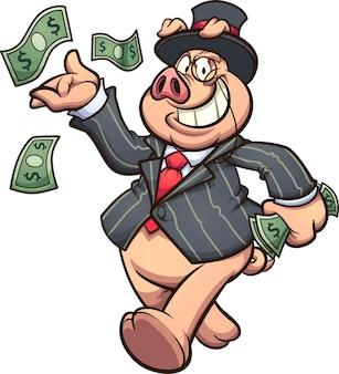 Maiale ricco capitalista che lancia soldi in aria