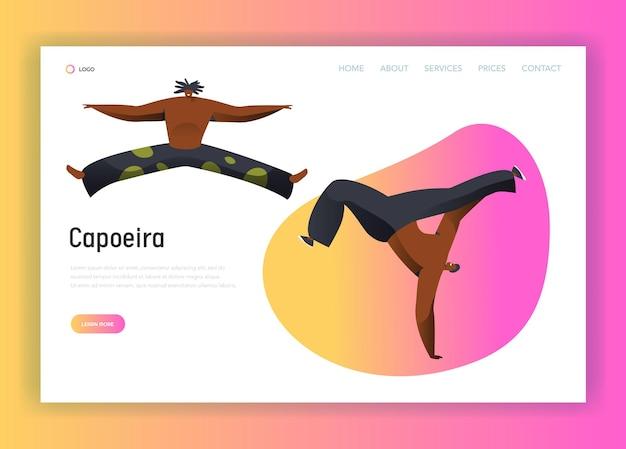 Capoeira brasile man combat dance landing page.