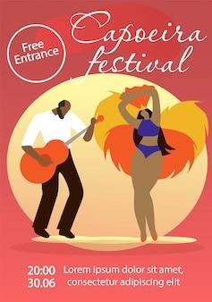Partecipanti al carnevale di capoeira su sfondo rosso.