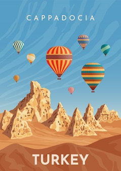 Volo in mongolfiera in cappadocia. viaggia in turchia. poster retrò, banner vintage. disegno a mano illustrazione piatta.
