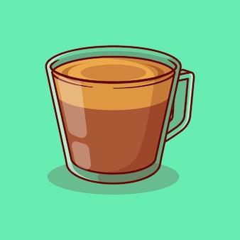 Disegno di illustrazione vettoriale di caffè cappuccino in un bicchiere trasparente