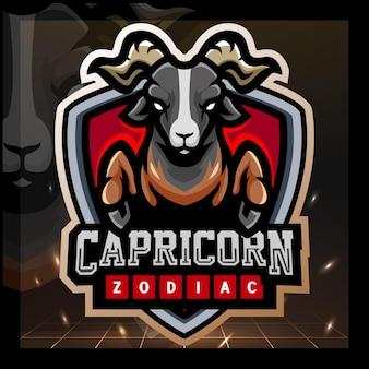 Design del logo esport della mascotte dello zodiaco del capricorno