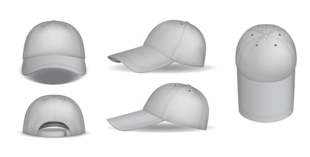 Mockup di tappi. berretti da baseball realistici