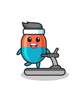 Personaggio dei cartoni animati della capsula che cammina sul tapis roulant, design in stile carino per maglietta, adesivo, elemento logo