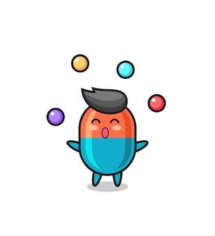 Il cartone animato del circo della capsula che gioca con una palla, un design in stile carino per maglietta, adesivo, elemento logo