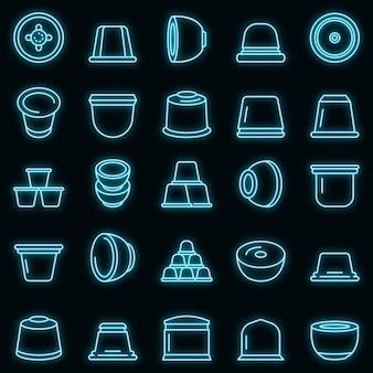 Capsule caffè set di icone vettoriali neon
