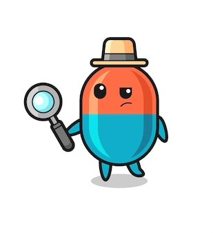 Il personaggio detective della capsula sta analizzando un caso, un design in stile carino per maglietta, adesivo, elemento logo