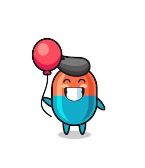 L'illustrazione della mascotte della capsula sta giocando a palloncino, design in stile carino per maglietta, adesivo, elemento logo