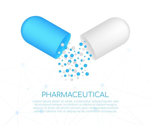 Pillola della capsula. piccole palline che versano da una capsula medica aperta.