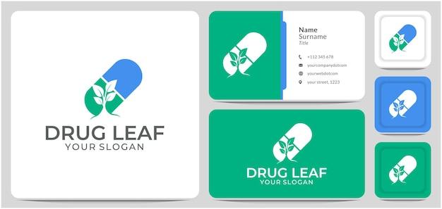 Pillola capsula con foglia medicina farmaco logo design vector