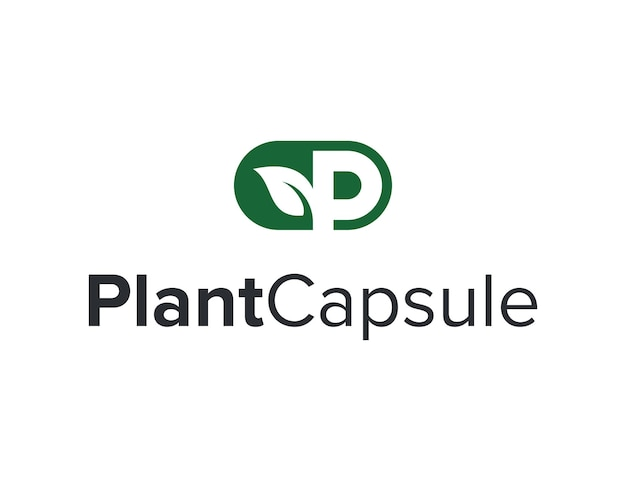 Capsula con lettera p foglia di pianta semplice elegante moderno logo design vettore