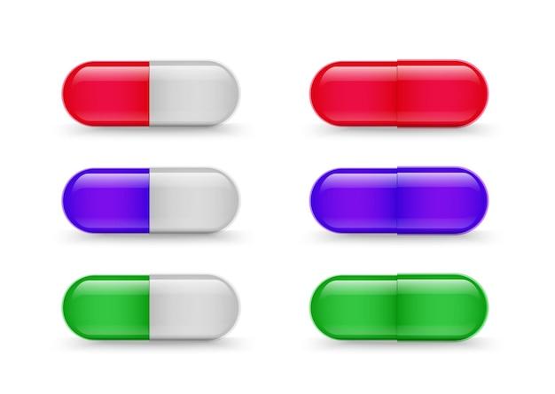 Capsule di farmaci raccolta vettore antibiotici medicina realistica o set di vitamine