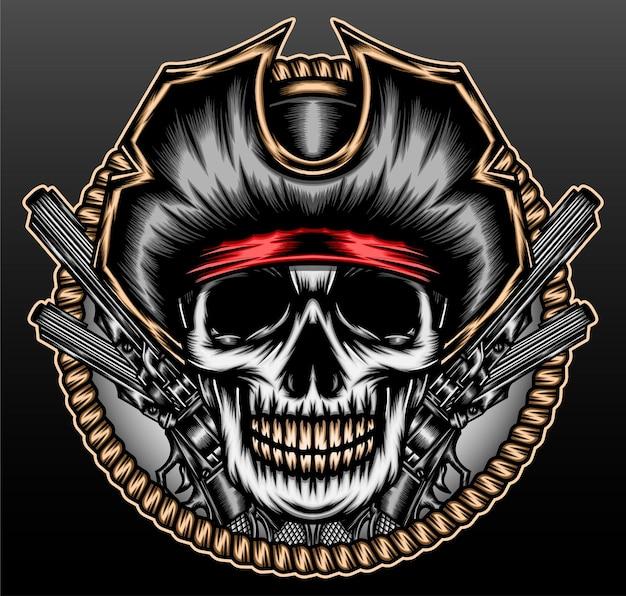 Capitano pirata teschio isolato sul nero