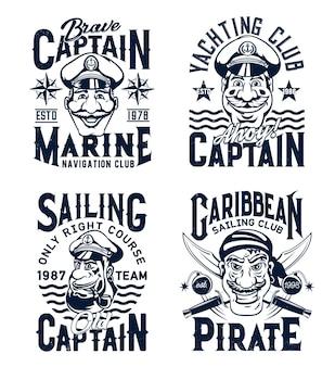 Modello di stampa t-shirt capitano e pirata. sorridente personaggio capitano o marinaio in fourage con ancora, faccia da pirata con vettore di sciabole incrociate. emblema del club nautico e nautico, stampa abbigliamento