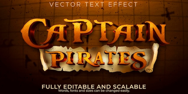 Effetto testo capitano pirati, nave modificabile e stile testo avventura