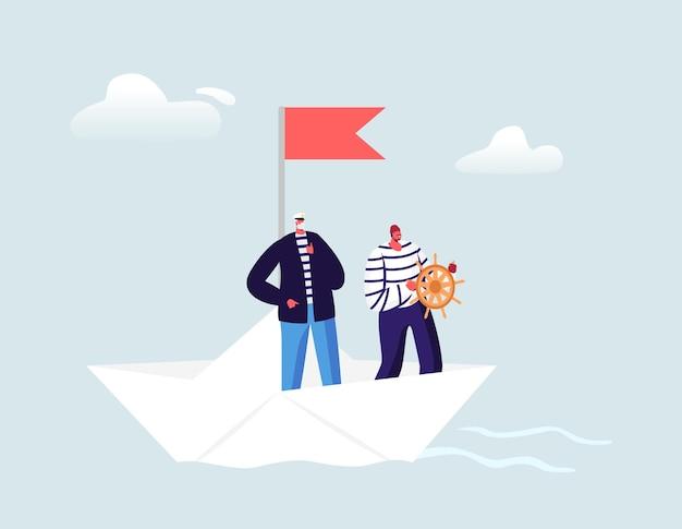 Capitano e marinaio in giubbotto spogliato al volante che galleggia su una barchetta di carta