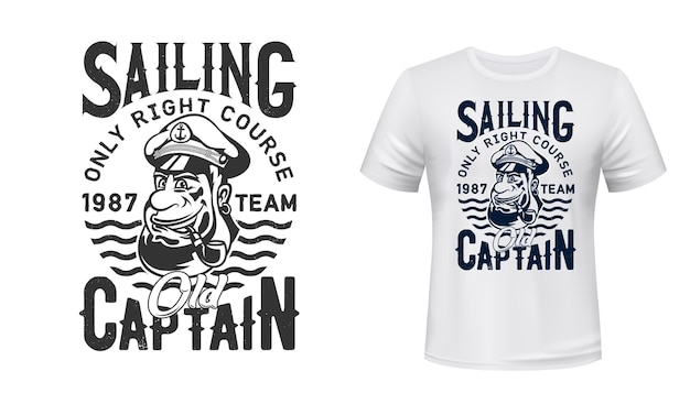T-shirt capitano marinaio stampa squadra di vela o club nautico