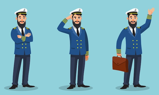 Capitano della nave in diverse pose. persona di sesso maschile in stile cartone animato.