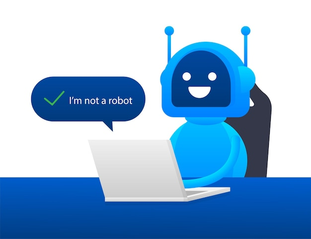 Captcha, non sono un robot sullo schermo del laptop. illustrazione di riserva di vettore.