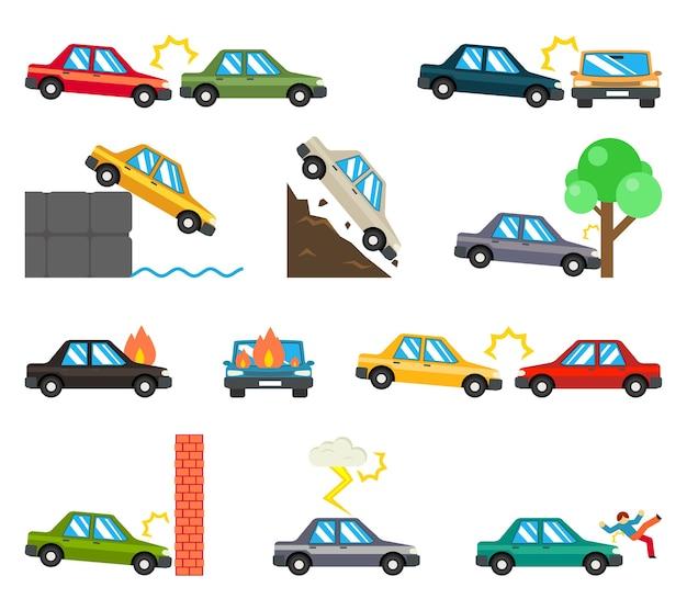 Icone piane di incidenti stradali. incidente automobilistico, disastro di incendio, pericolo automobilistico di trasporto, illustrazione vettoriale