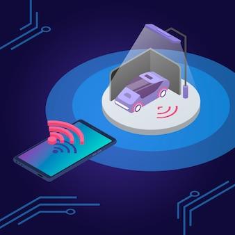 Illustrazione di colore isometrica di controllo remoto del sistema di allarme per auto applicazione per smartphone di monitoraggio della sicurezza dei trasporti sistema di sicurezza intelligente del veicolo d concetto isolato su sfondo blu