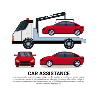 Insegna di assistenza dell'automobile con il veicolo rotto rimorchio dell'automobile sopra bianco