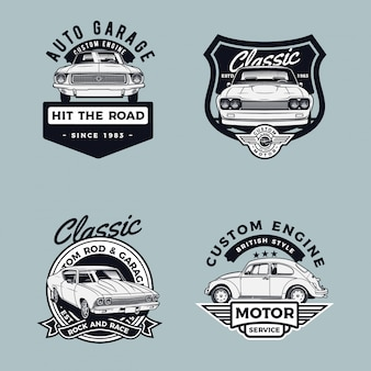 Collezione di badge per auto
