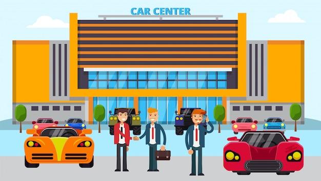 Illustrazione del centro auto, diverse auto e persone manager venditore e acquirenti.
