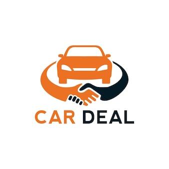 Elemento del modello di progettazione del logo di affare dell'automobile con l'illustrazione della stretta di mano e dell'automobile