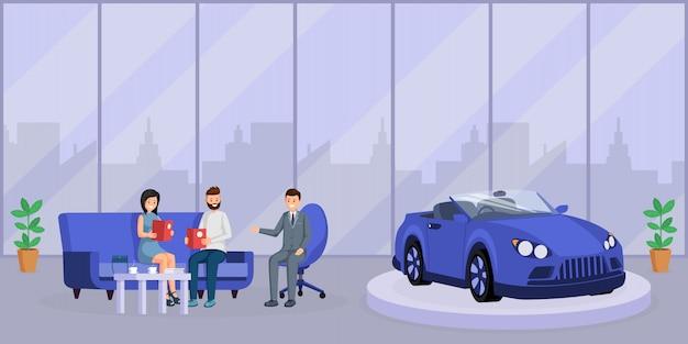 Illustrazione piana di vettore di consultazione del commerciante di automobile