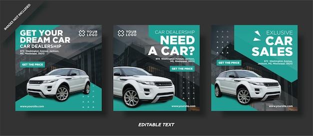 Modello di progettazione post instagram di un rivenditore di auto car