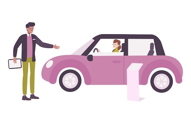 Composizione piatta concessionaria auto con autista e manager donna
