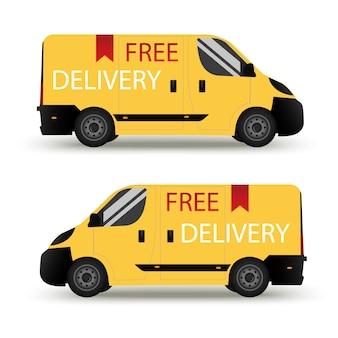 Una consegna auto. isolato su sfondo bianco consegna. vista laterale in stile piatto. profilo.