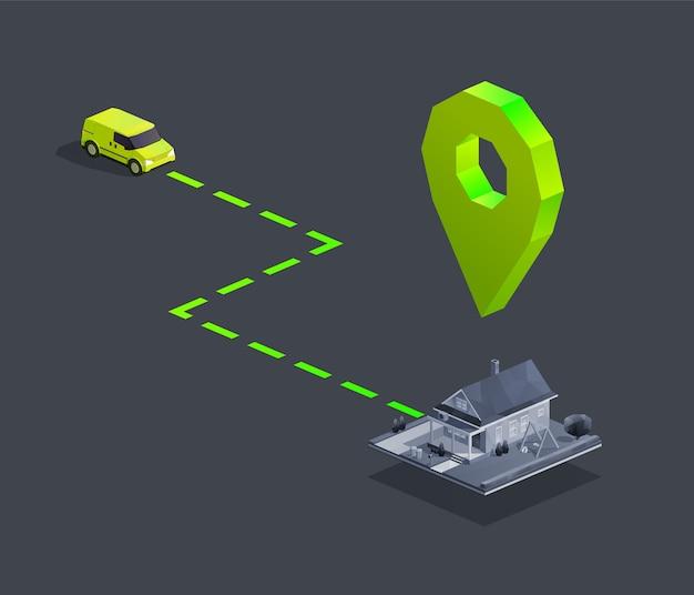 Navigazione per la consegna dell'auto con segnaposto della mappa a casa