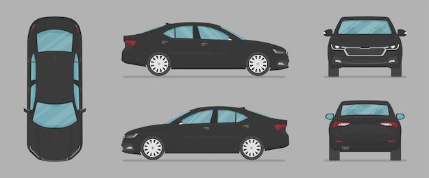 Auto in vista diversa proiezione superiore posteriore e laterale dell'auto