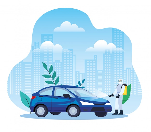 Servizio di disinfezione auto, prevenzione coronavirus, superfici pulite in auto con spray disinfettante, persona con tuta a rischio biologico Vettore Premium