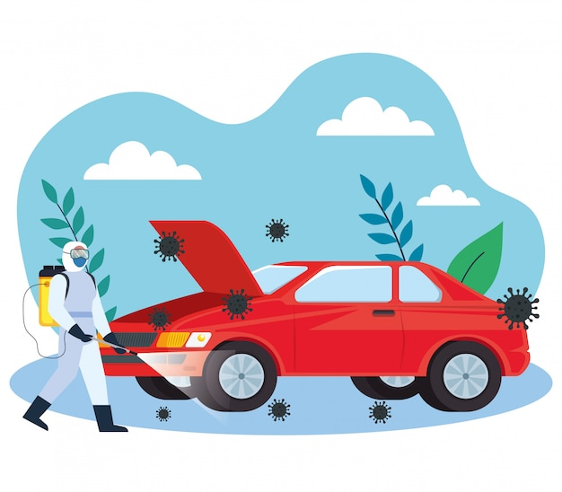Servizio di disinfezione auto, prevenzione coronavirus, superfici pulite in auto con spray disinfettante, persona con tuta a rischio biologico