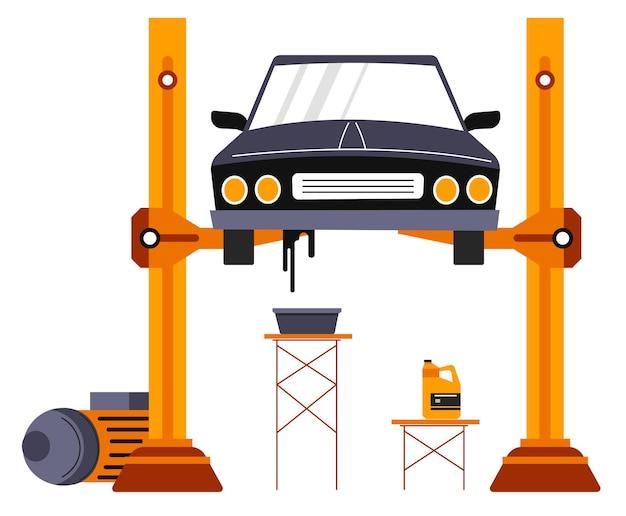 Servizi di riparazione auto, riparazione e manutenzione di veicoli. garage o officina meccanica con ascensore e auto, strumentazioni e attrezzi da riparare auto. cura e controllo del trasporto. vettore in stile piatto