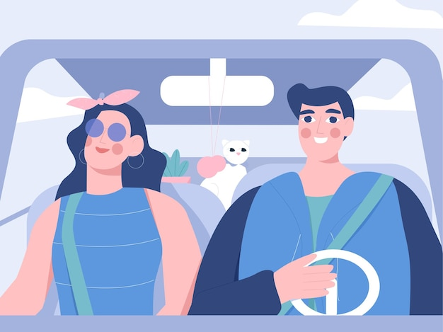 Nell'illustrazione piatta dell'auto