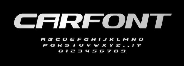 Lettere dell'alfabeto del carattere dell'automobile logo del marchio automobilistico tipografia in acciaio design tipografico metallico in grassetto