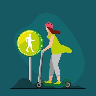 Giornata senza auto donna in scooter