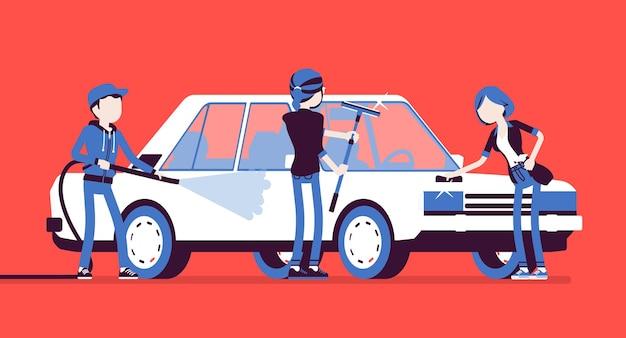 Autolavaggio self-service per giovani